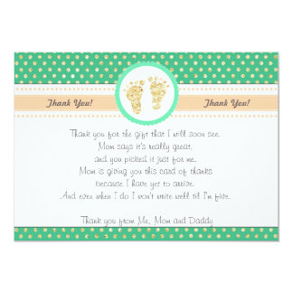 Footprints Baby Shower Thank You Card Mint Gold
