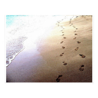 Footprints Beach Love Barbados Couple Walking Postcard