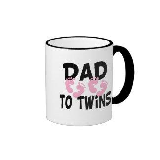 Footprints Dad to Twins (twin girls) Ringer Coffee Mug