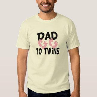 Footprints Dad to Twins (twin girls) T-shirts