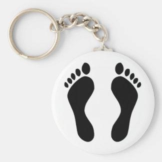 footprints feet basic round button key ring