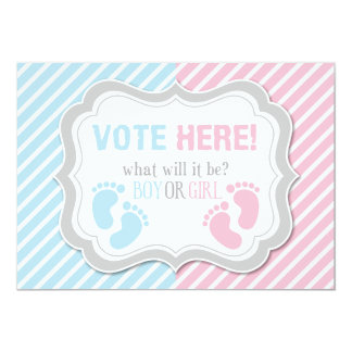 Footprints Gender Reveal Voting Table Sign Card