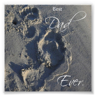 Footprints in Sand Best Dad Ever Square Print Photo Print