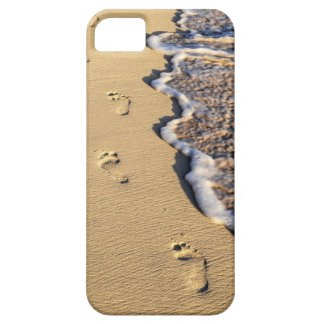 Footprints in sand on beach iPhone 5 case