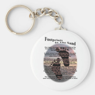 Footprints in the Sand... Basic Round Button Key Ring