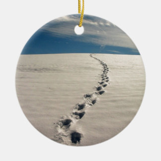 Footprints in the sand ceramic ornament