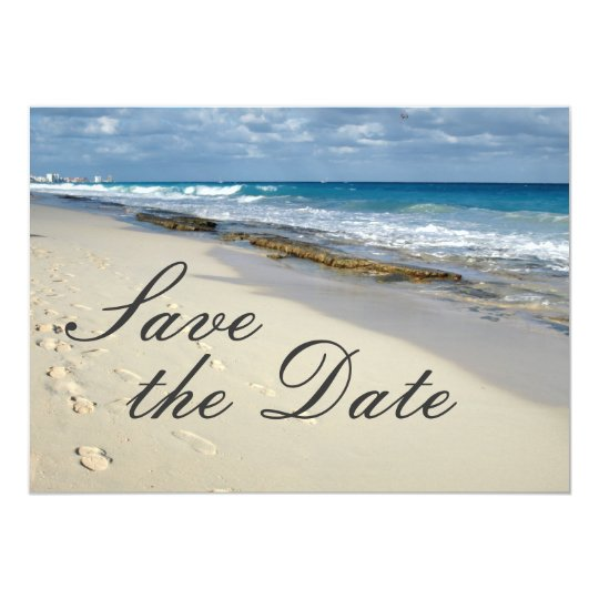 "Footprints in the sand ""save the date"" card"
