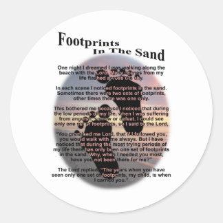 Footprints in the Sand... Round Sticker