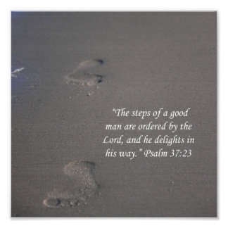Footprints on Sand Psalms 37:23 Scripture Print