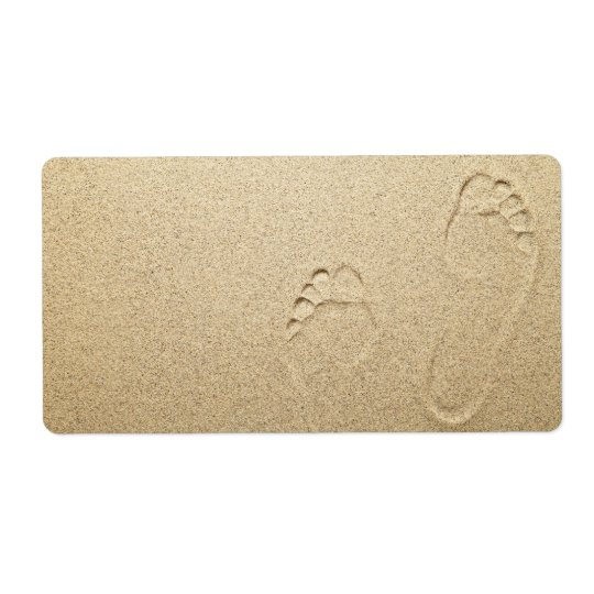 Footprints On Sandy Beach Background Shipping Label