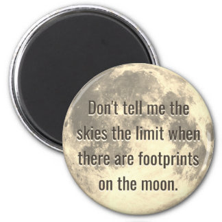 Footprints on the Moon 6 Cm Round Magnet