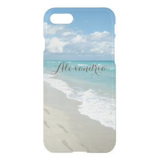 Footprints on White Sandy Beach, Pretty Aqua Blue iPhone 7 Case