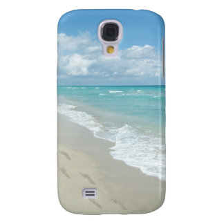 Footprints on White Sandy Beach, Scenic Aqua Blue Galaxy S4 Case