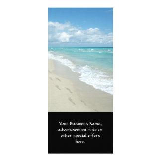 Footprints on White Sandy Beach, Scenic Aqua Blue Rack Cards