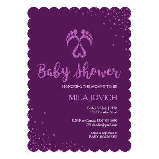 Footsteps baby shower invitation for girls