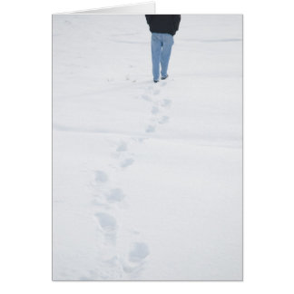Footsteps in New Snow Winter Card