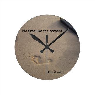 Footsteps in Sand Inspirational Encouragement Hope Round Clock