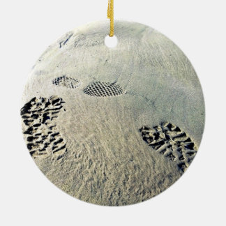 Footsteps in the Sand Ceramic Ornament
