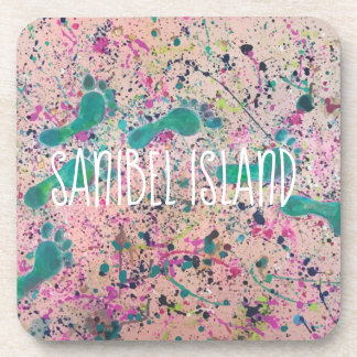 Footsteps in the Sand Painting - Sanibel Island Coaster