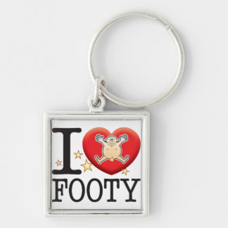 Footy Love Man Silver-Colored Square Key Ring