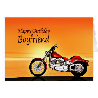 For a boyfriend, Motorcycle sunset birthday Card