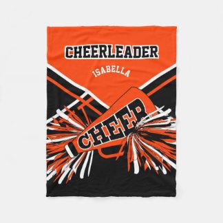 For a Cheerleader -Orange, Black & White Fleece Blanket