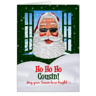 for a Cousin Cool Santa Christmas Card