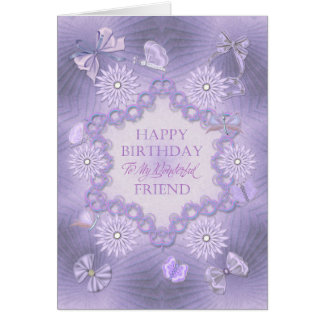 For a friend lilac birthday card with flowers