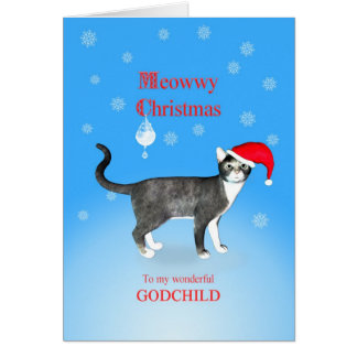 For a godchild, Meowwy Christmas cat Greeting Card