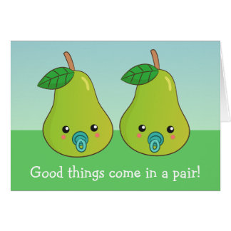 For a mother of twins - A cute pair of pears Greeting Card