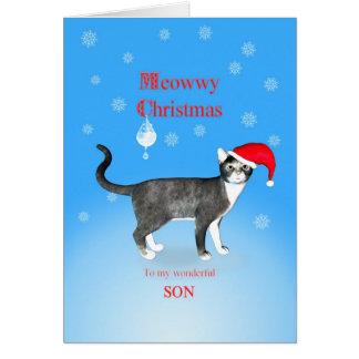For a  son, Meowwy Christmas cat in a hat. Card