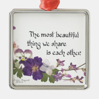 For a Sweetheart Silver-Colored Square Decoration