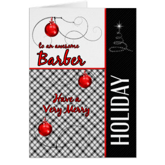 for Barber Masculine Red and Black Holiday Card