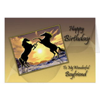 For Boyfriend Birthday card with rearing horses