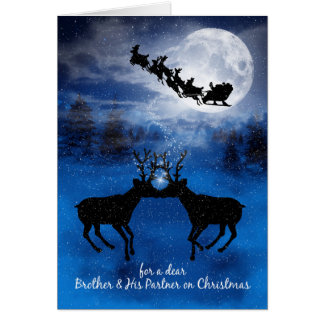 for Brother and his Partner Kissing Reindeer Card