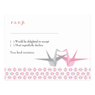 For Carrie: Origami Cranes (Pink Silver) RSVP Postcard