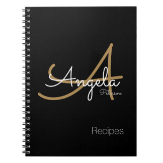 for chef recipes a modern monogrammed black spiral notebook