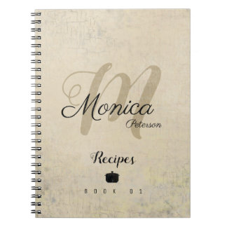 for chef recipes a stylish monogram on beige notebook