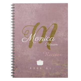 for chef recipes a stylish monogram on dusty rose notebook