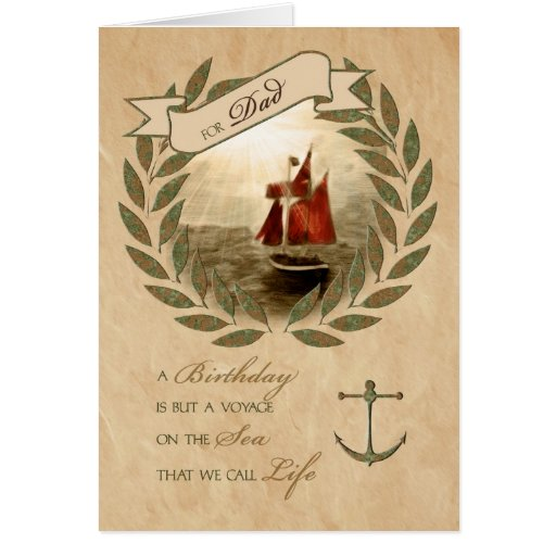 For Dad Happy Birthday Sailing Card