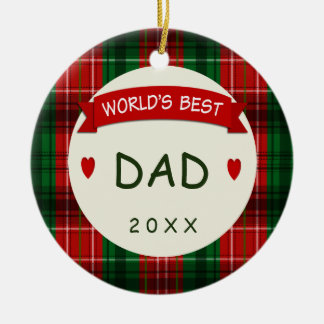 For Dad Holiday Plaid Christmas Gift Ornaments