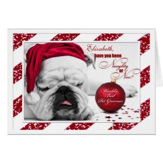 for Dog Groomer Christmas Bulldog Card