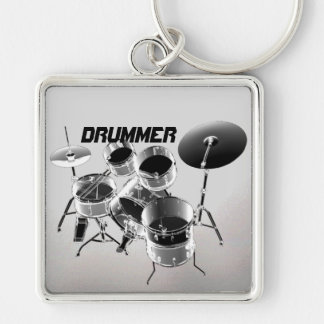 For Drummers | Personalized Gift Silver-Colored Square Key Ring