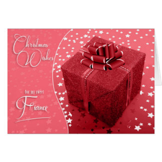 for Fiance - Feminine Christmas Shades of Pink Card