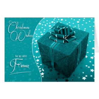 for Fiance - Masculine Christmas Turquoise Blue Card