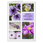 For fiancee, Lavender hues floral birthday card