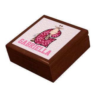 """for Girl's Pink Giraffe Monogram """"G"""" Large Square Gift Box"""