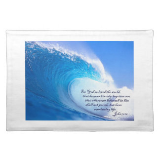 For God So Loved John 3:16 Ocean Waves Design Placemat