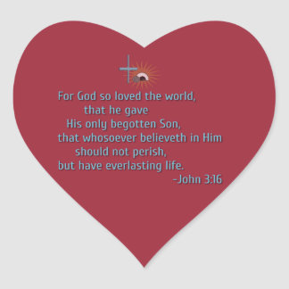 For God So Loved the World Heart Sticker