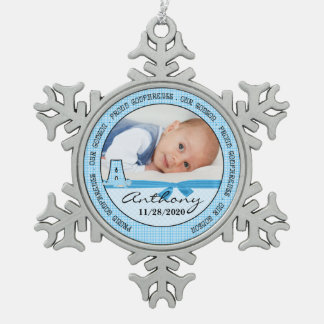 for Godparents | Monogram A | Blue New Baby Photo Pewter Snowflake Decoration